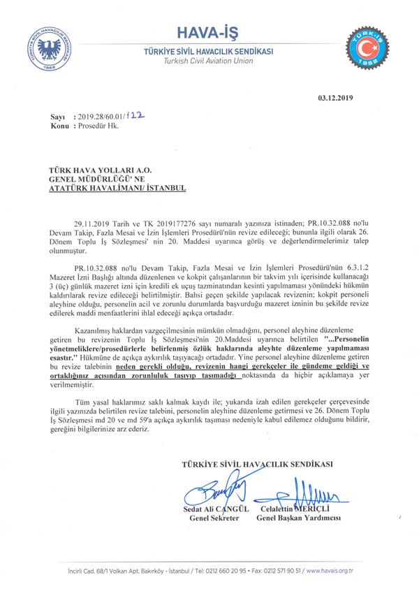 Kokpit Personeli Üyelerimizin Mazeret İzinleri Hakkında