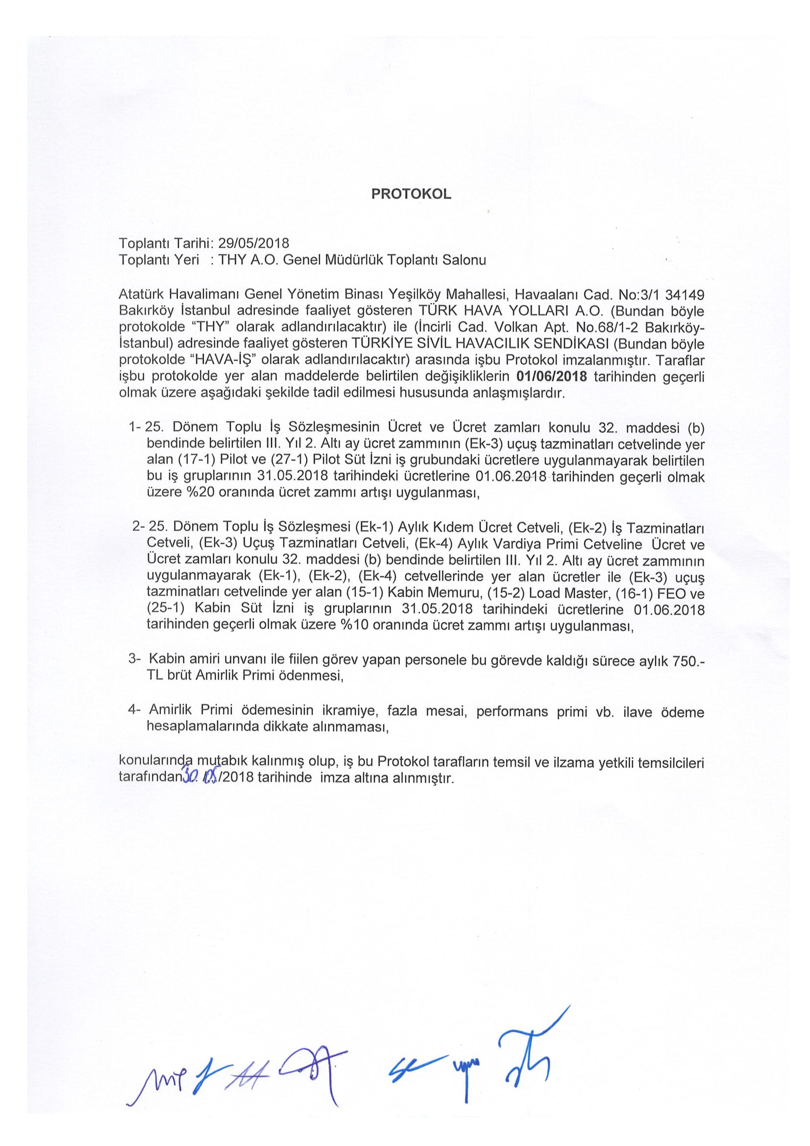 İş sözleşmesi sözleşmesi ek anlaşması